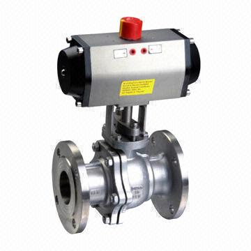 Pneumatic Hand Sealing V-type Ball Valve with Water and Flange Connection